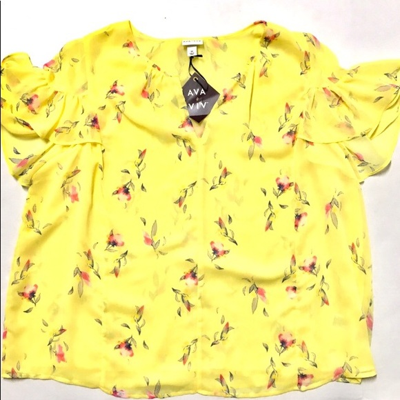 832093ee987 NWT Ava   Viv yellow floral flutter chiffon top 3X